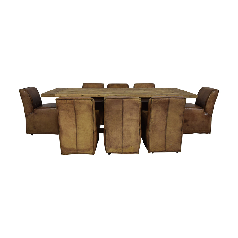Rustic Extendable Table with Tan Chairs nj