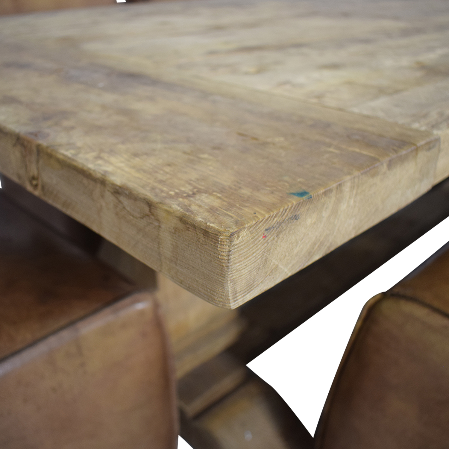Rustic Extendable Table with Tan Chairs nyc