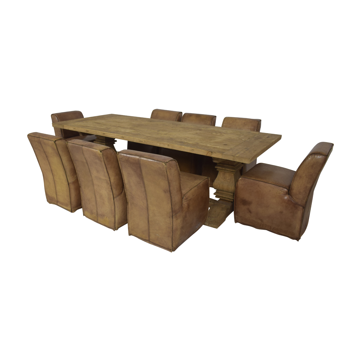 Rustic Extendable Table with Tan Chairs used