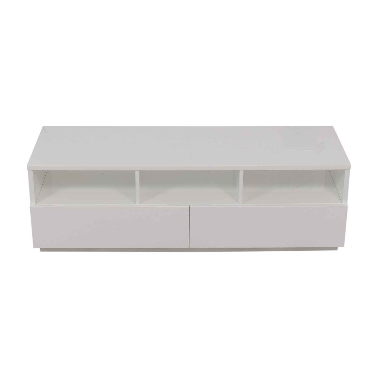 shop CB2 Chill White Two-Drawer Media Console CB2 Media Units