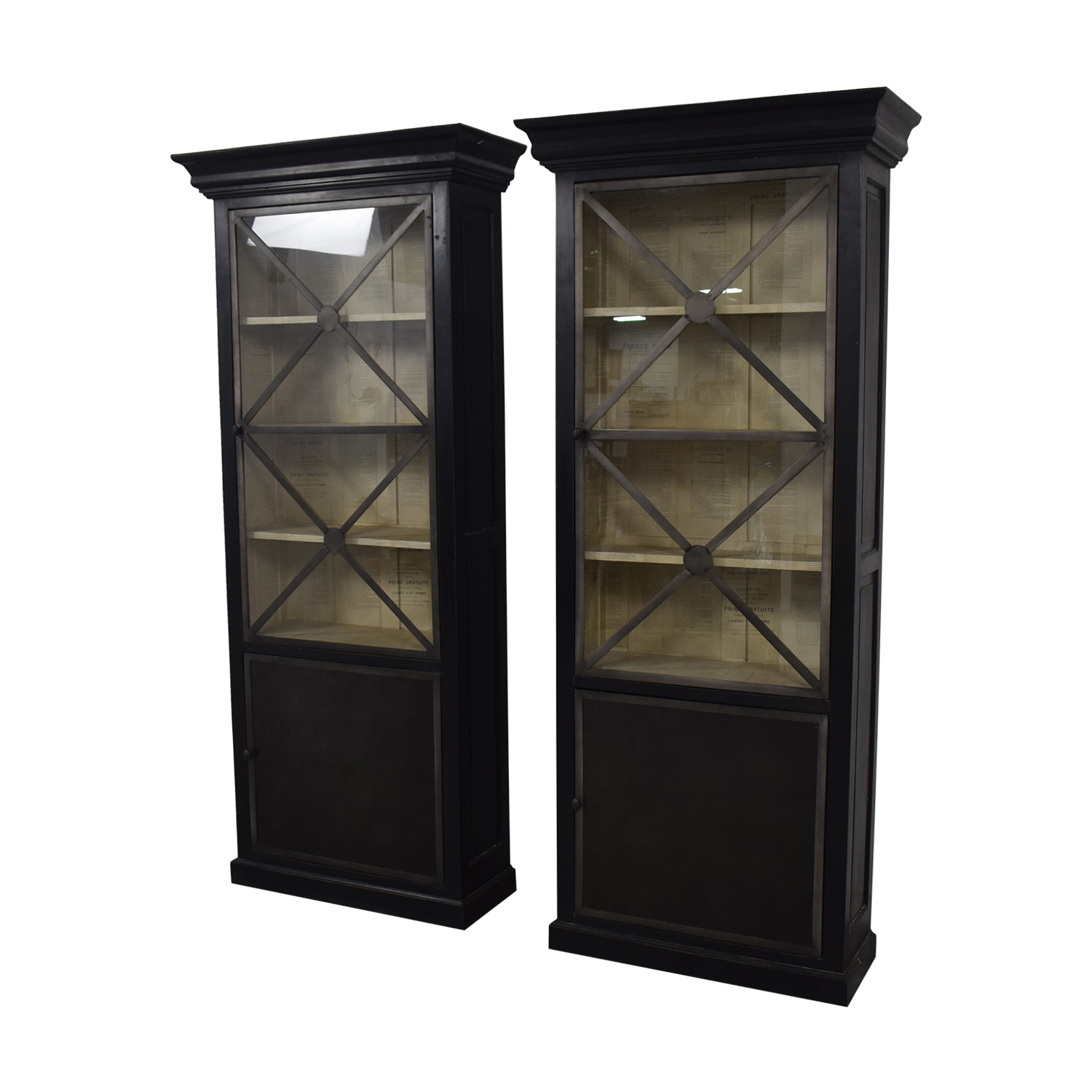 Wood Cabinets with Metal Framed Glass Doors Storage