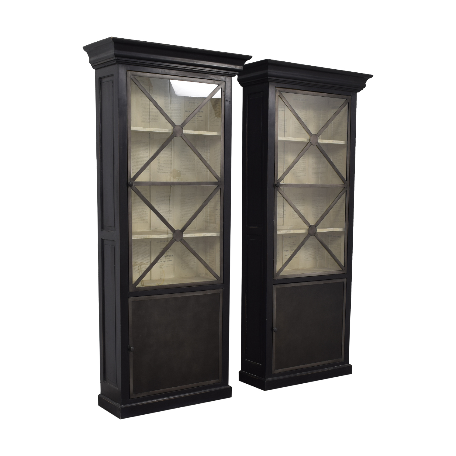 buy Wood Cabinets with Metal Framed Glass Doors  Cabinets & Sideboards