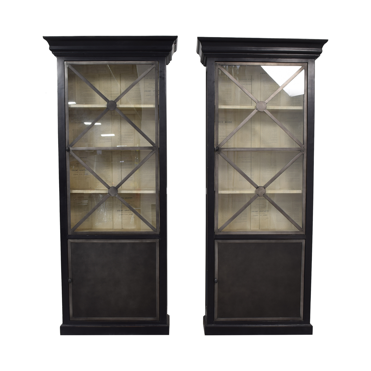 Wood Cabinets with Metal Framed Glass Doors used