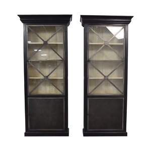 shop Wood Cabinets with Metal Framed Glass Doors  Storage