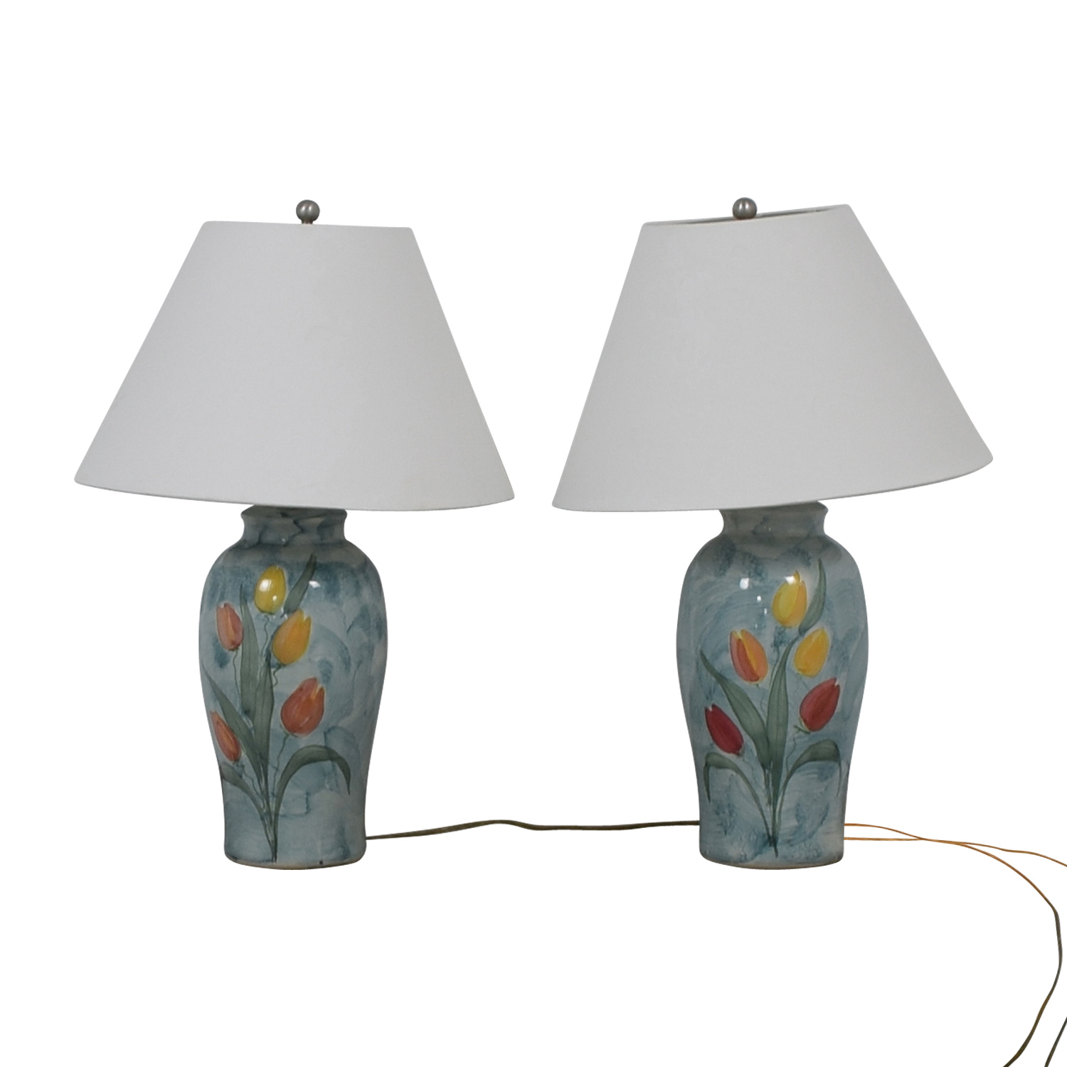 Ceramic Blue Tulip Table Lamps