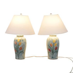 Ceramic Blue Tulip Table Lamps nyc