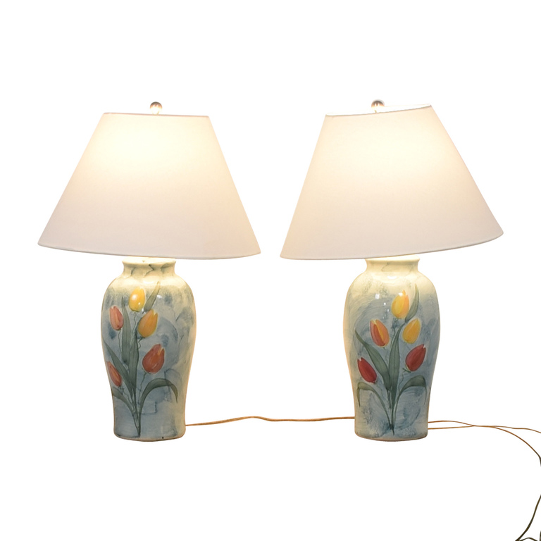 Ceramic Blue Tulip Table Lamps nyc