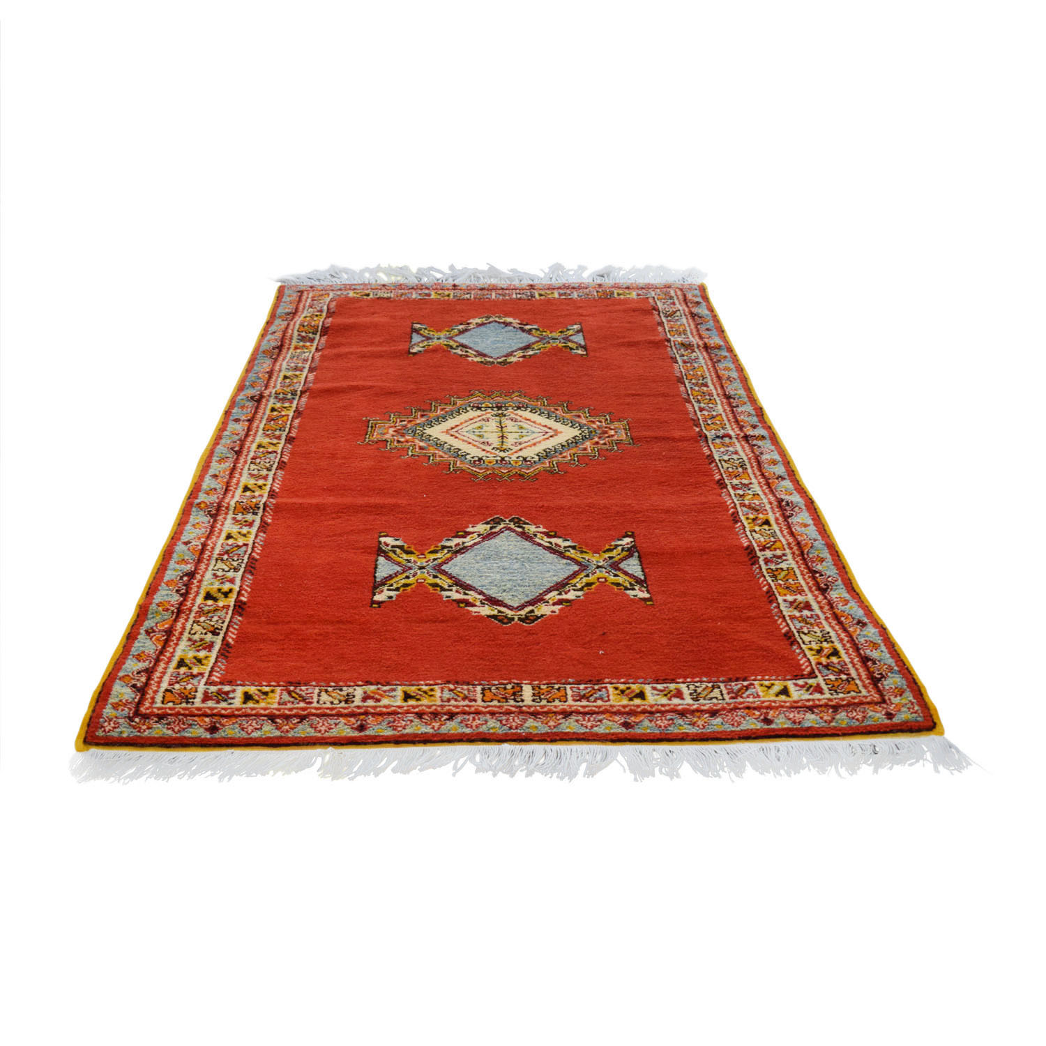 Vintage Red Multi-Colored Moroccan Rug nj
