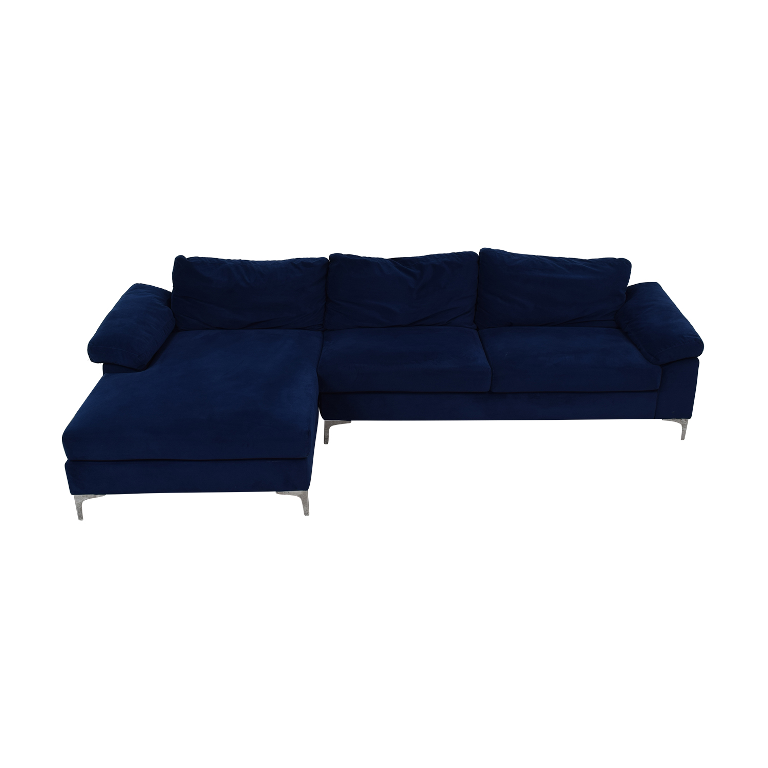 buy Blue Chaise Sectional with Chrome Legs  Sectionals