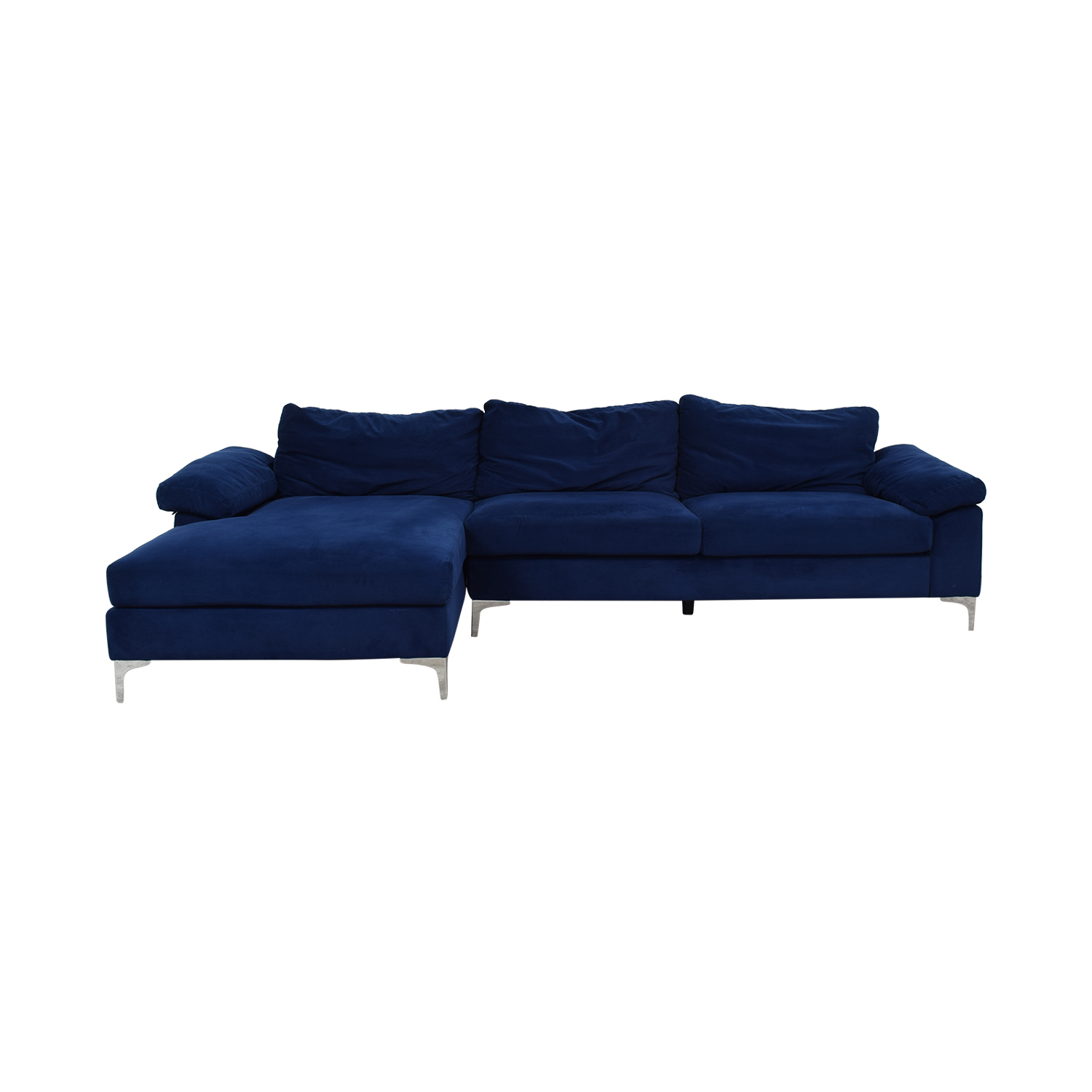 Blue Chaise Sectional with Chrome Legs for sale
