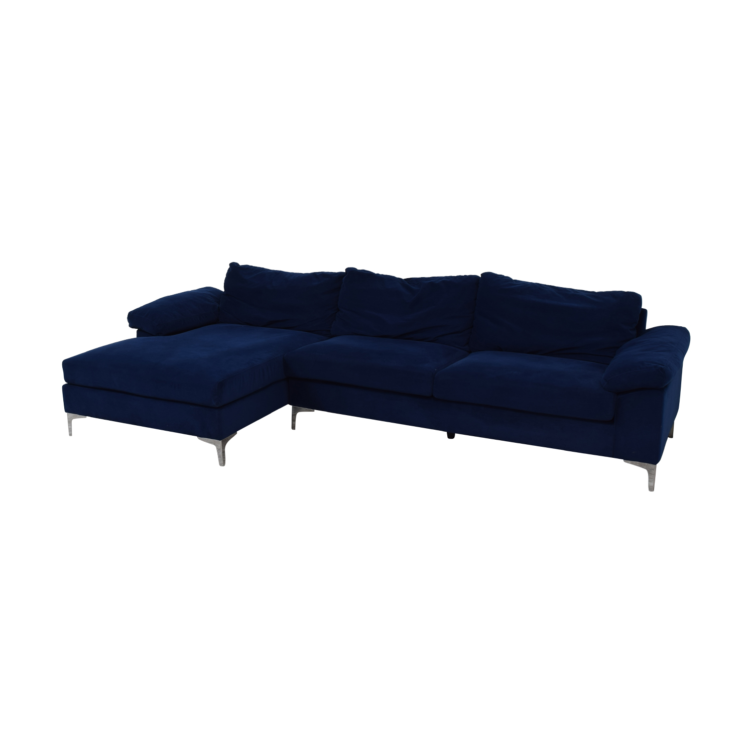 Blue Chaise Sectional with Chrome Legs nyc