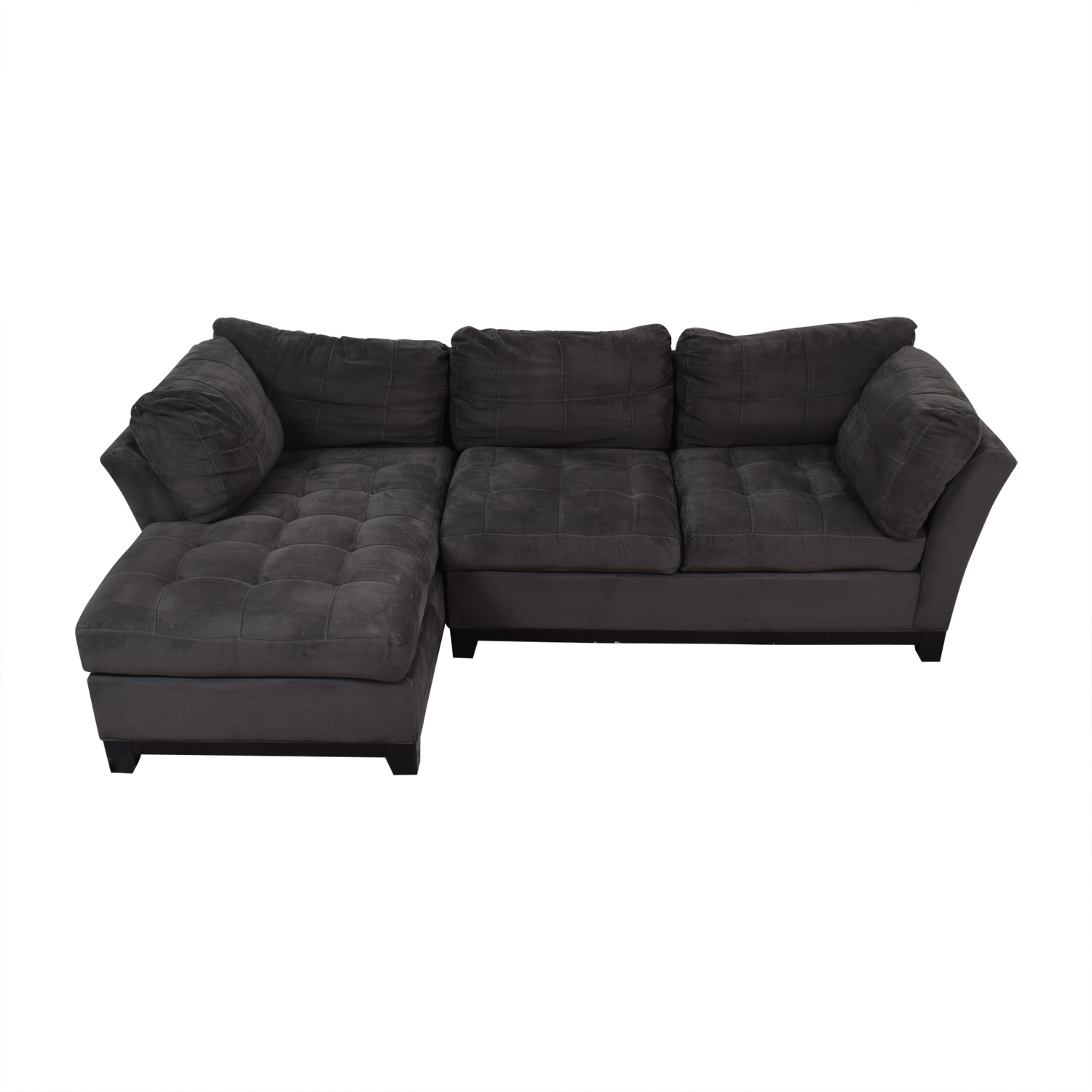 Raymour & Flanigan Raymour & Flanigan Cindy Crawford Grey Semi Tufted Chaise Sectional GRAY