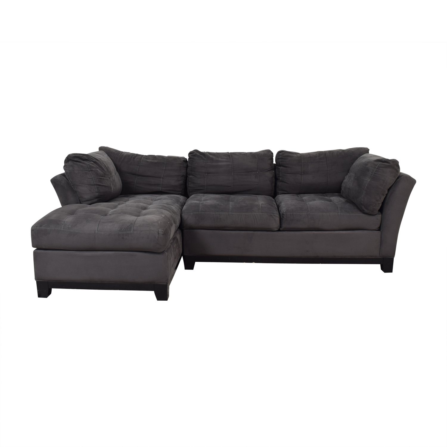 Raymour & Flanigan Raymour & Flanigan Cindy Crawford Grey Semi Tufted Chaise Sectional second hand
