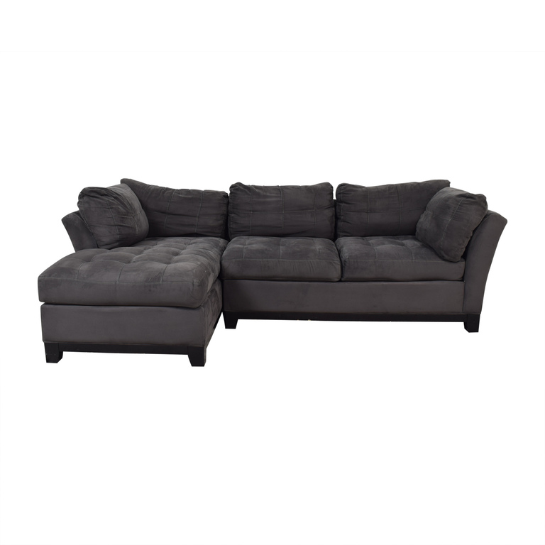 buy Raymour & Flanigan Cindy Crawford Grey Semi Tufted Chaise Sectional Raymour & Flanigan Sofas