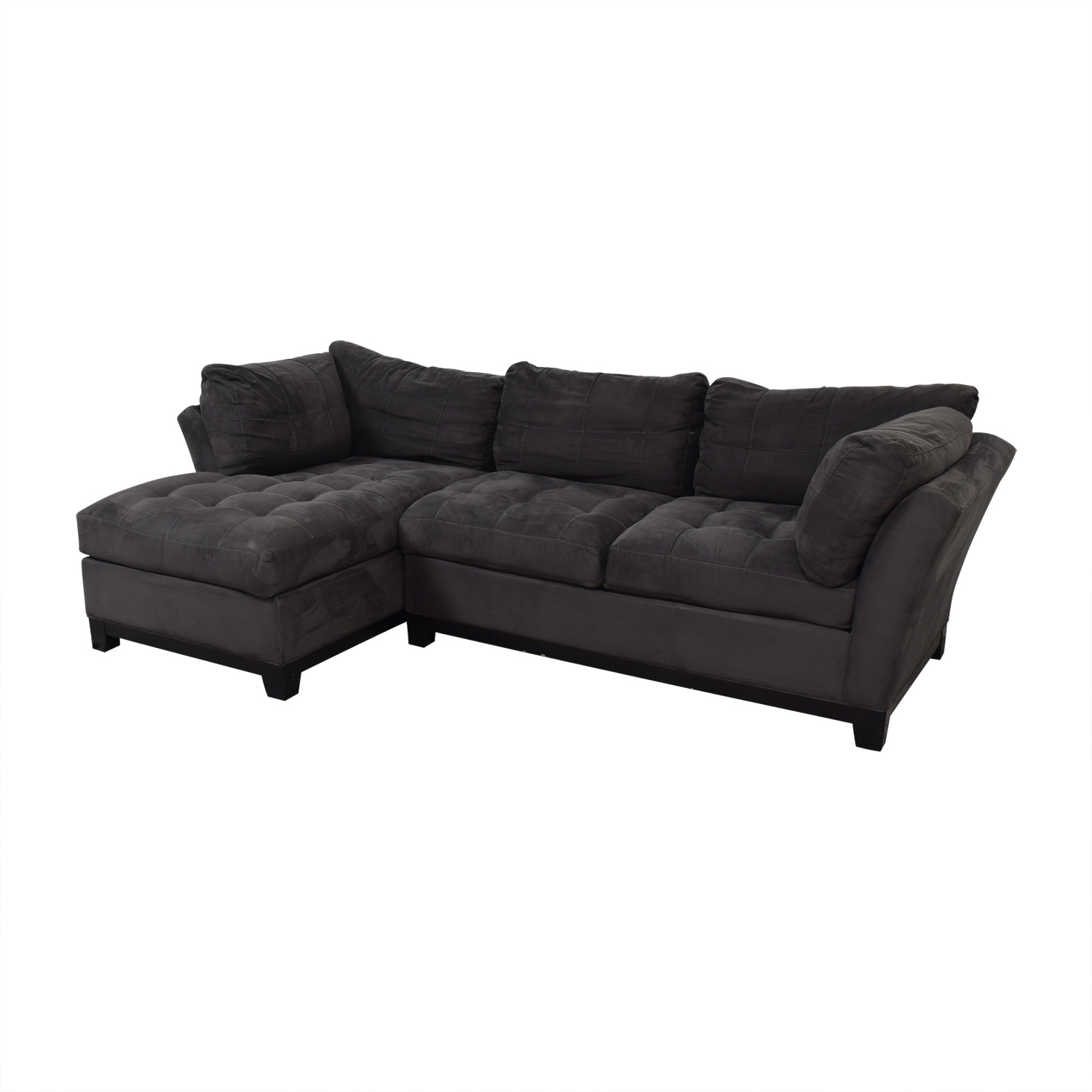 Raymour & Flanigan Raymour & Flanigan Cindy Crawford Grey Semi Tufted Chaise Sectional coupon