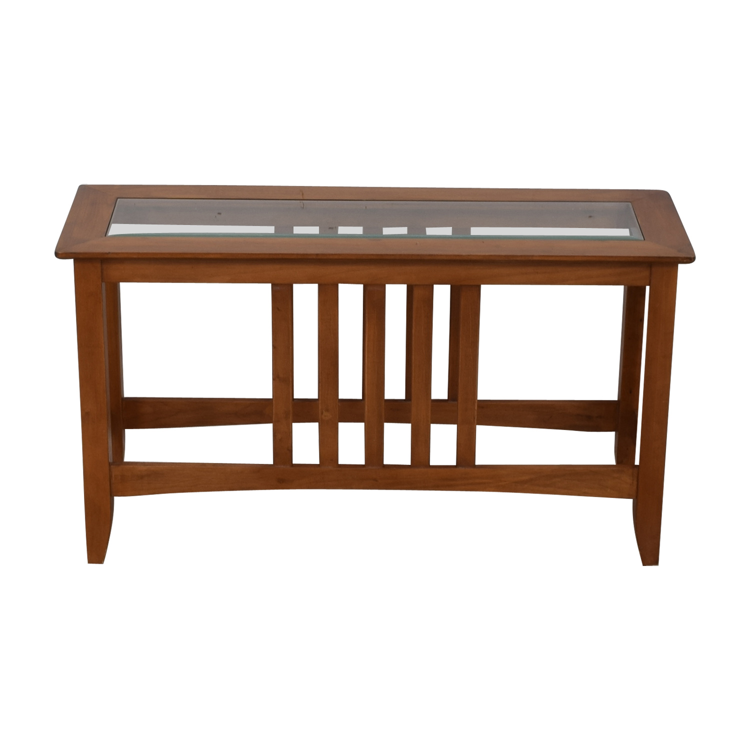 Glass and Wood Console Table Sofas