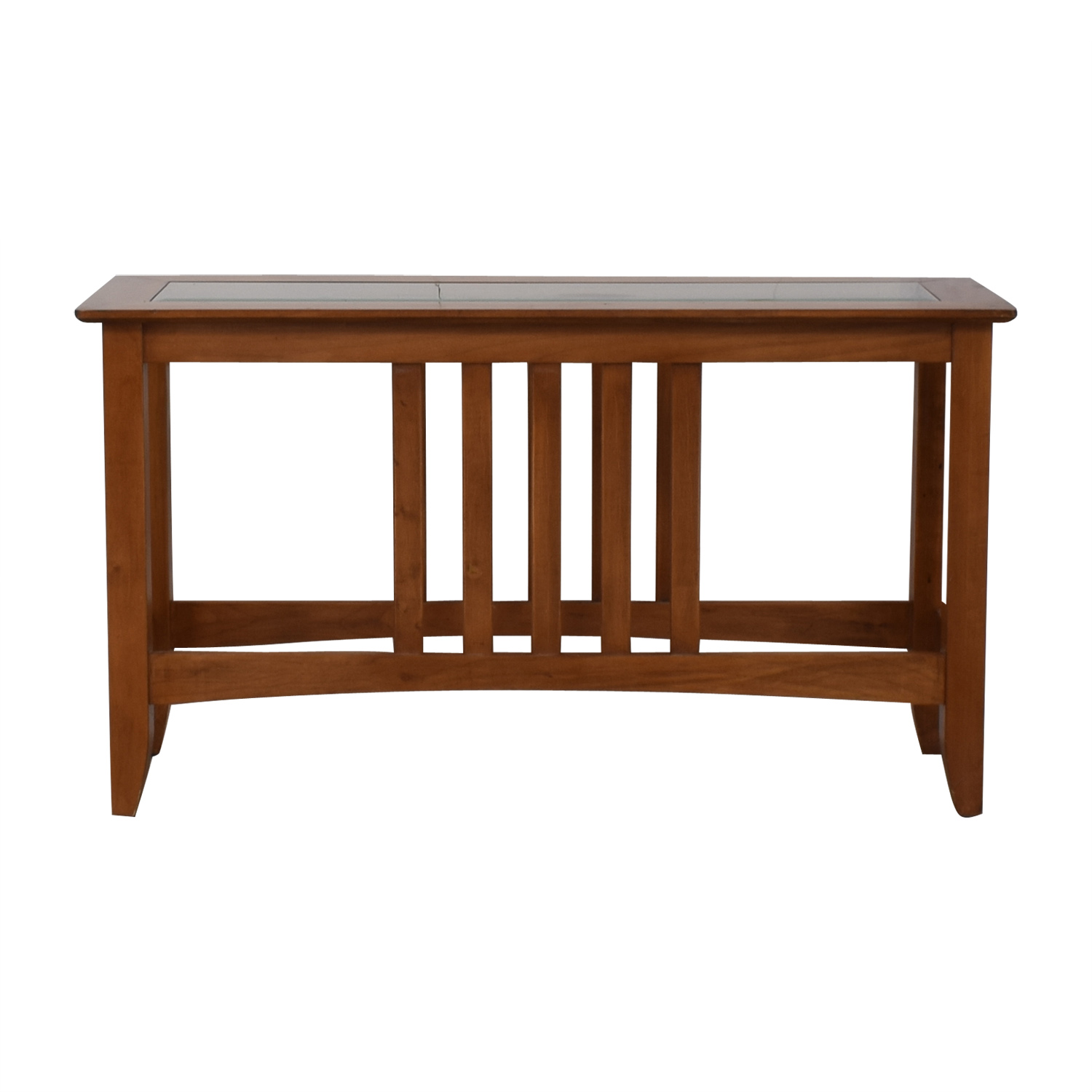 Glass and Wood Console Table / Sofas