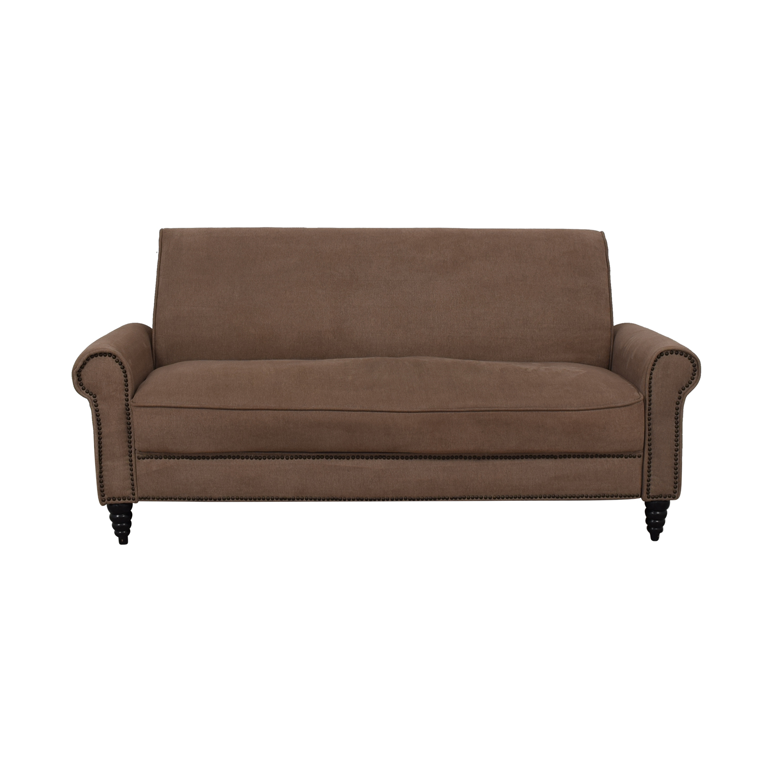 Overstock Overstock  Cream Nailhead Single Cushion Sofa