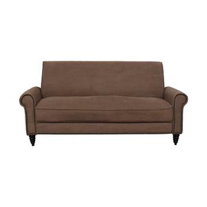 Overstock  Cream Nailhead Single Cushion Sofa / Sofas