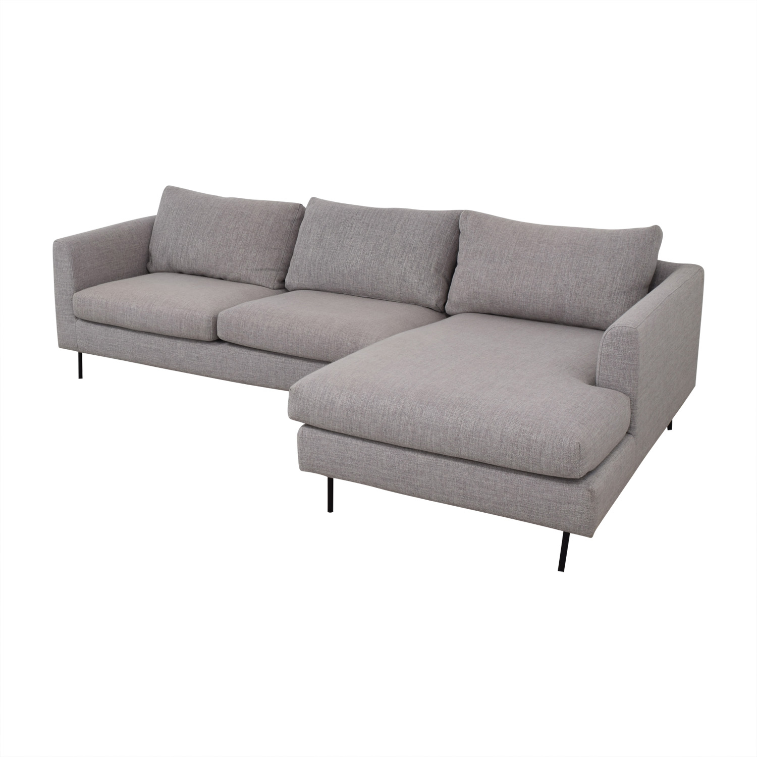 Interior Define Interior Define Owens Grey Right Chaise Sectional dimensions