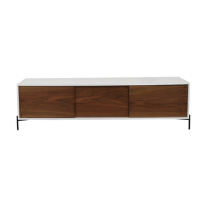 STORnewyork STORnewyork White with Walnut Doors Roosevelt Credenza nj