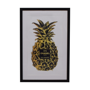 Marmont Hill Marmont Hill Amanda Greenwood Pineapple Black Gold Framed Print dimensions