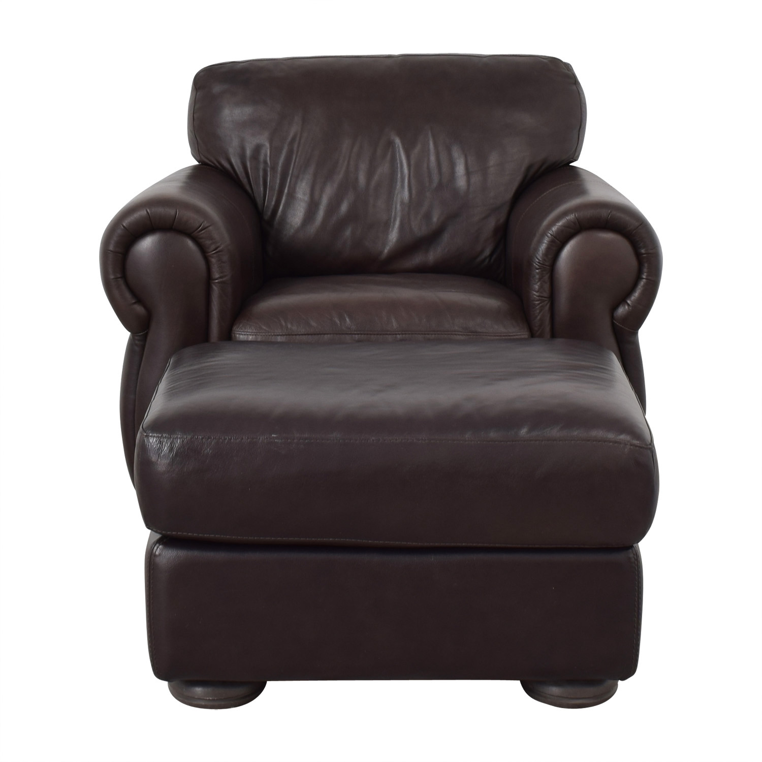 Raymour & Flanigan Raymour & Flanigan Brown Accent Chair and Ottoman discount