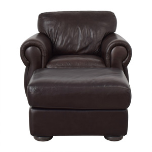 Raymour & Flanigan Brown Accent Chair and Ottoman sale