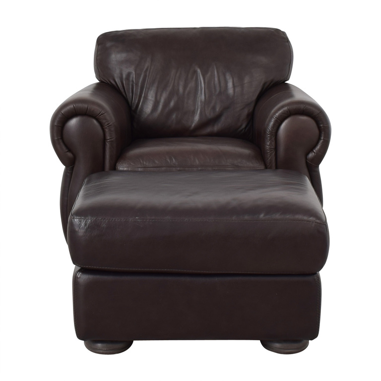 buy Raymour & Flanigan Raymour & Flanigan Brown Accent Chair and Ottoman online