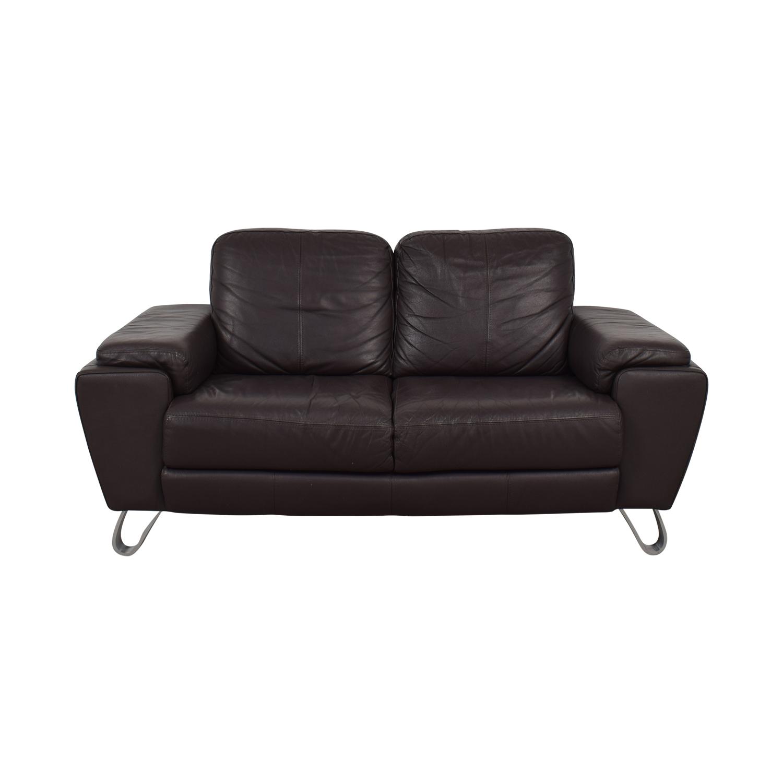 shop Michaelangelo Design Brown Two-Cushion Loveseat Michaelangelo Design Loveseats
