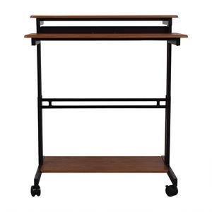 Mobile Ergonomic Stand up Teak Computer Workstation discount