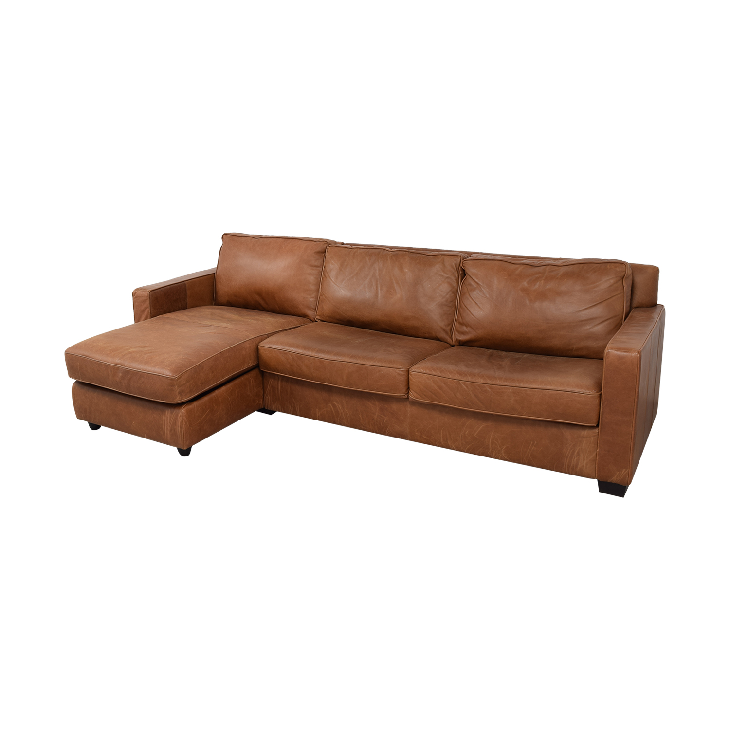 buy popular 432f6 d8dfd 56% OFF - West Elm West Elm Henry Leather Full Sleeper Sectional Storage /  Sofas