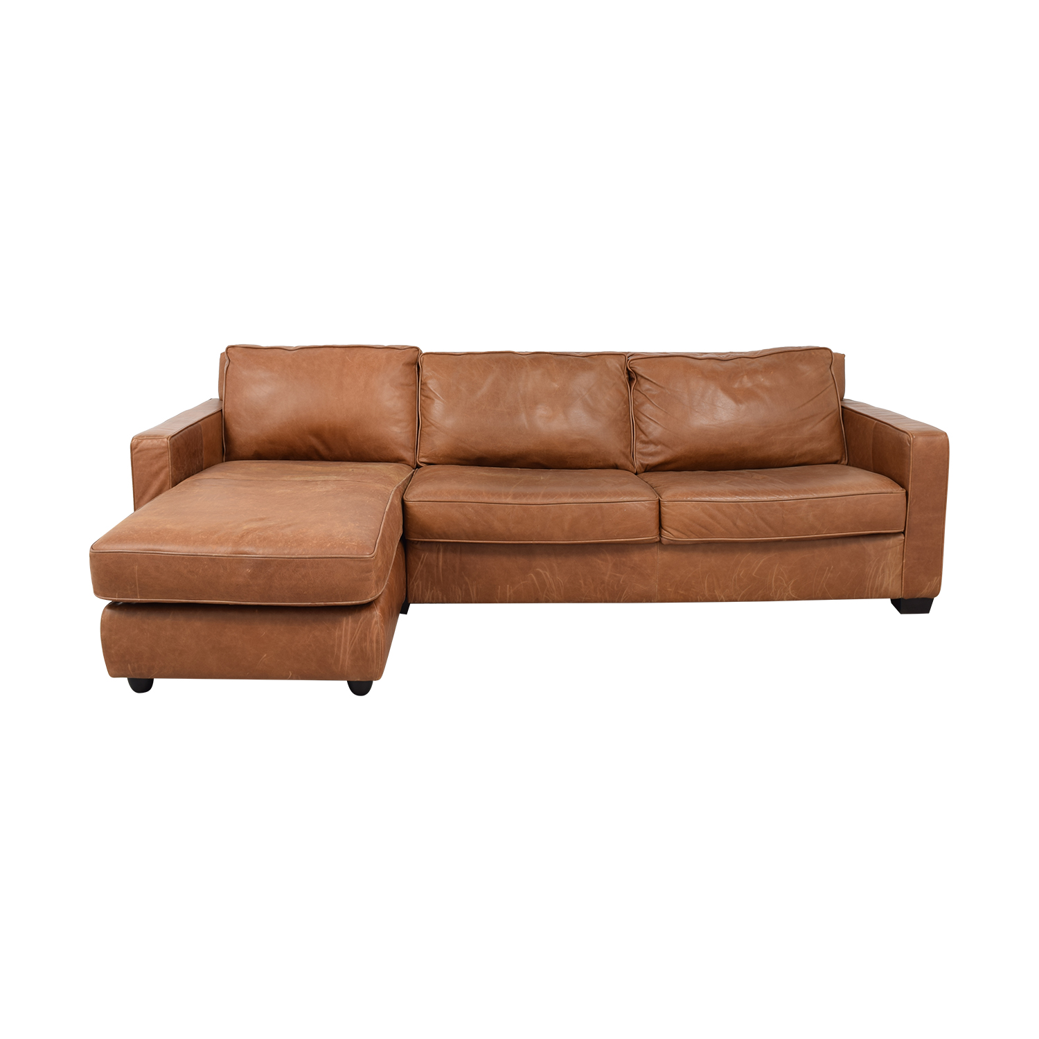56% OFF - West Elm West Elm Henry Leather Full Sleeper Sectional Storage /  Sofas