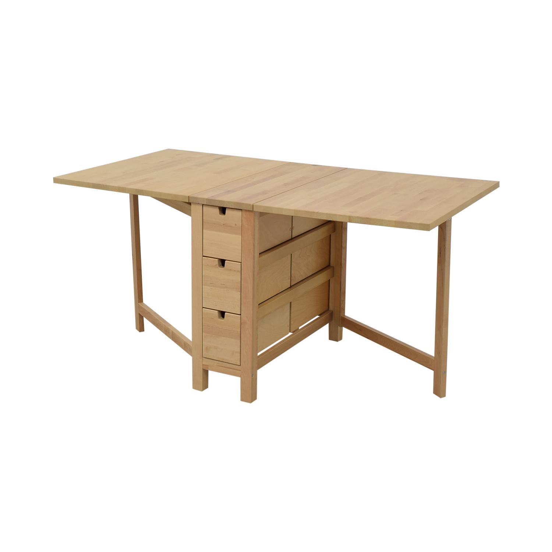 buy IKEA IKEA Norden Gateleg Folding Table with Storage Drawers online