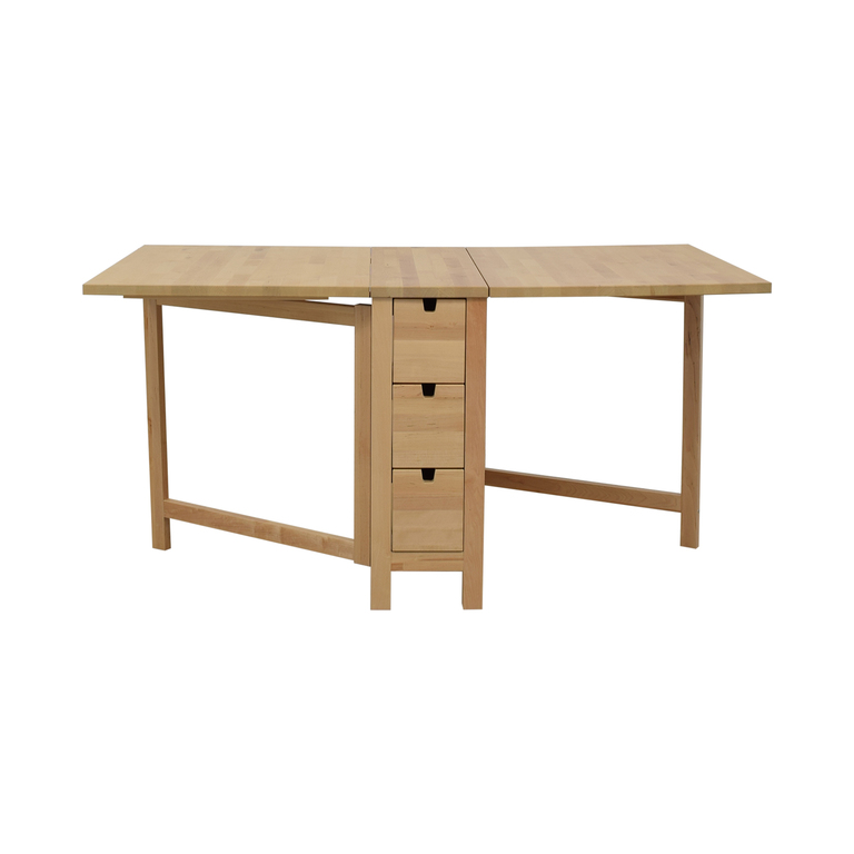 IKEA IKEA Norden Gateleg Folding Table with Storage Drawers discount