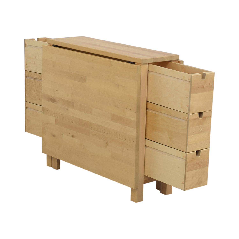 IKEA IKEA Norden Gateleg Folding Table with Storage Drawers nyc