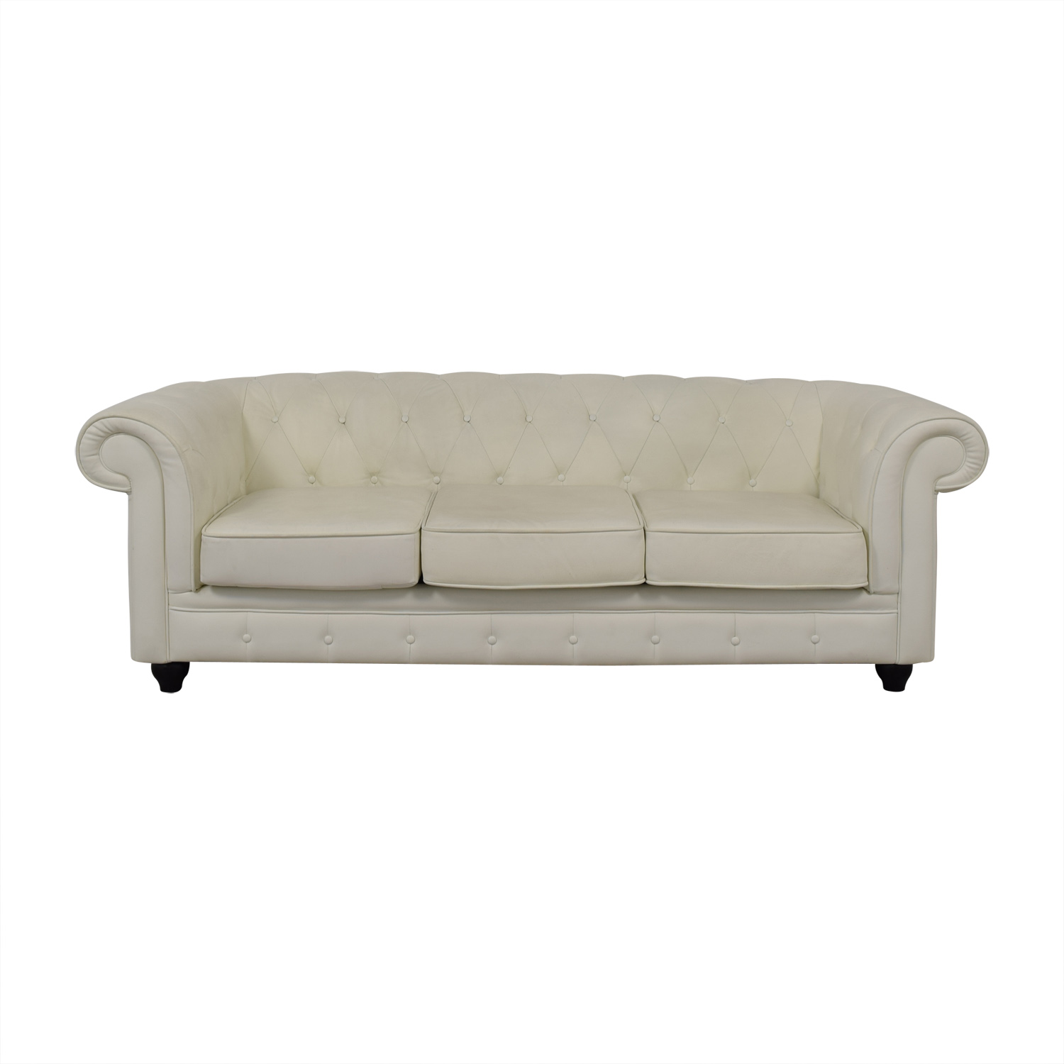 Modani Furniture Chesterfield White Tufted Three-Cushion Sofa / Classic Sofas