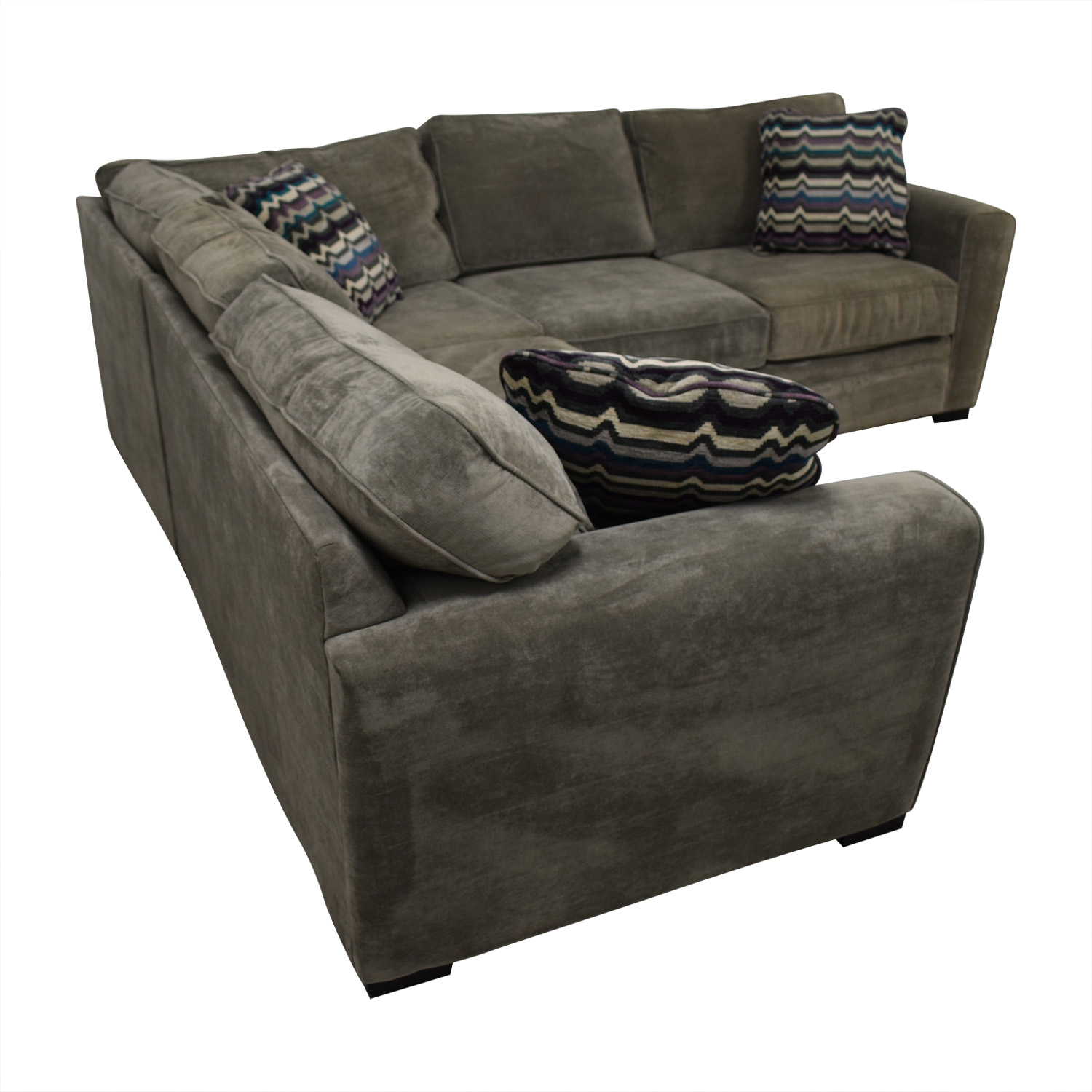 Raymour & Flanigan Raymour & Flanigan Artemis II Gray Microfiber L-Shaped Sectional Sofa Gray