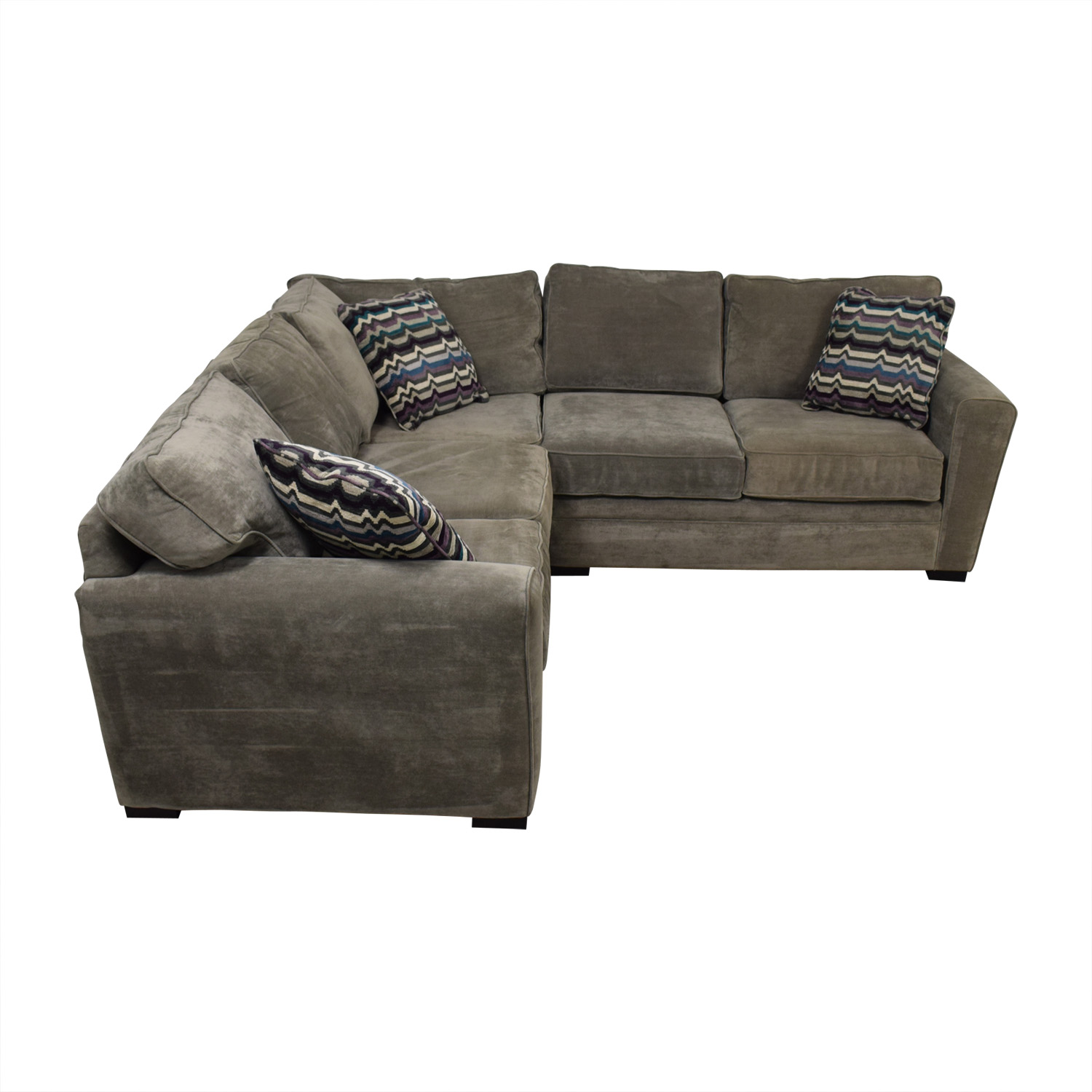 shop Raymour & Flanigan Artemis II Gray Microfiber L-Shaped Sectional Sofa Raymour & Flanigan Sectionals