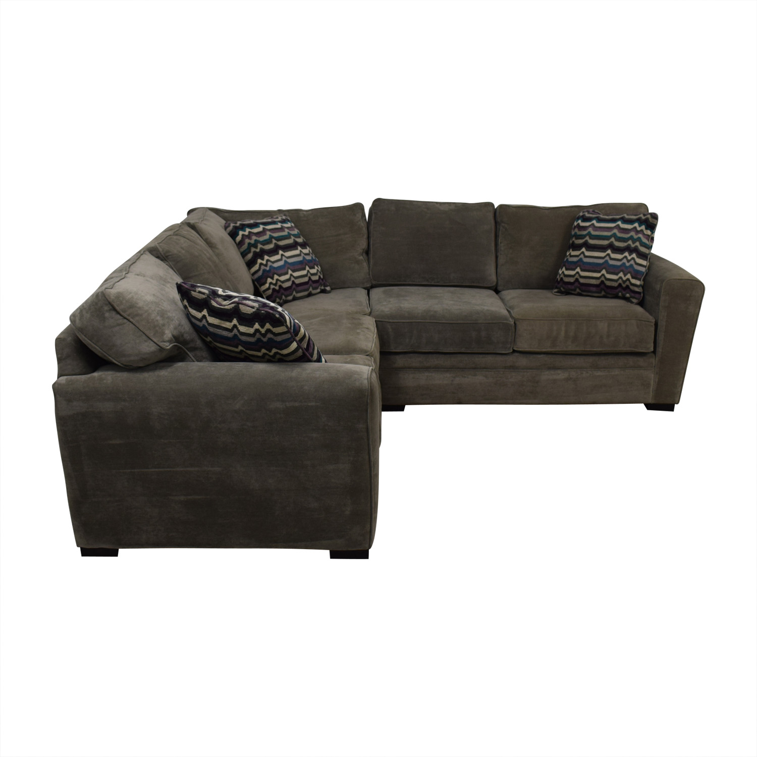 buy Raymour & Flanigan Artemis II Gray Microfiber L-Shaped Sectional Sofa Raymour & Flanigan Sectionals