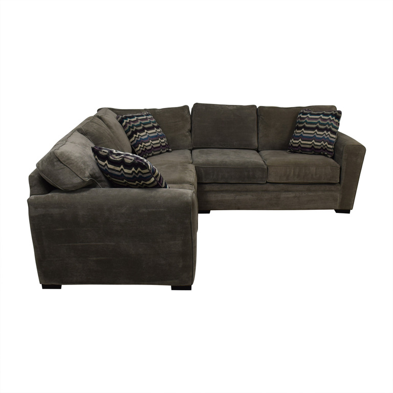 Raymour & Flanigan Raymour & Flanigan Artemis II Gray Microfiber L-Shaped Sectional Sofa on sale
