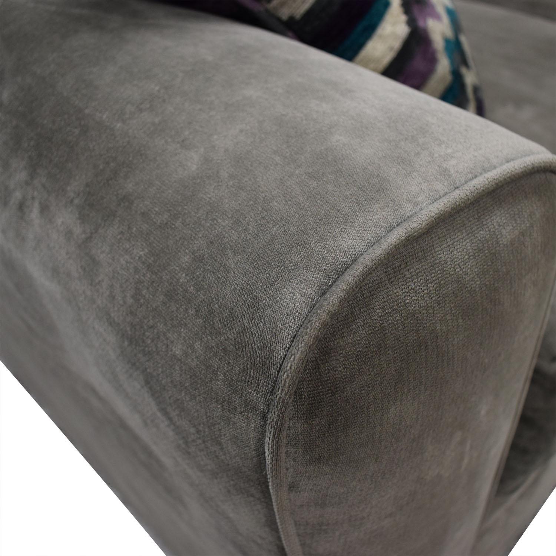 Raymour & Flanigan Artemis II Gray Microfiber L-Shaped Sectional Sofa sale
