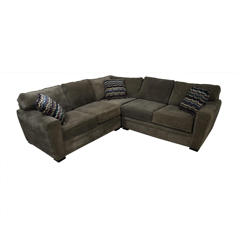 shop Raymour & Flanigan Raymour & Flanigan Artemis II Gray Microfiber L-Shaped Sectional Sofa online