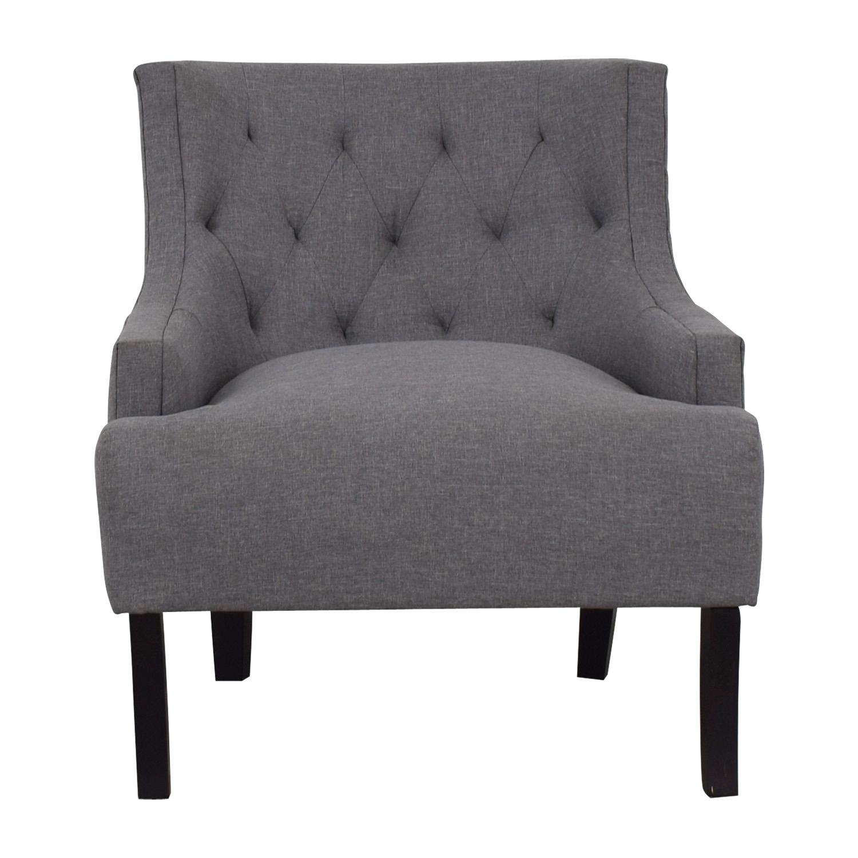 Hayneedle Hayneedle Tufts Grey Tufted Accent Chair gray