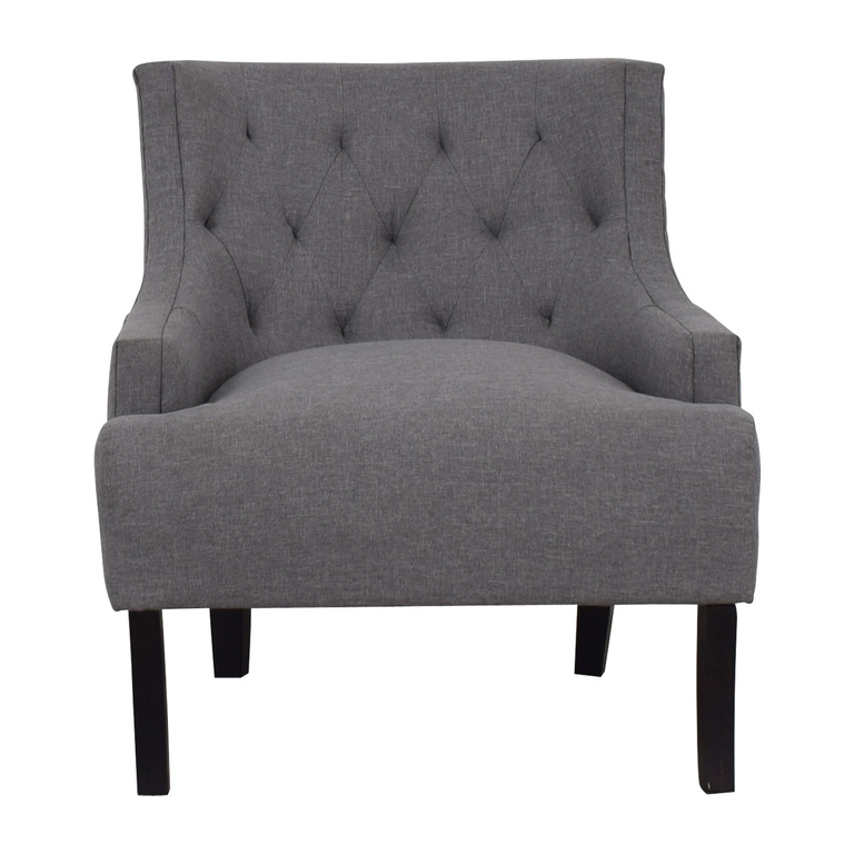 Hayneedle Hayneedle Tufts Grey Tufted Accent Chair nyc