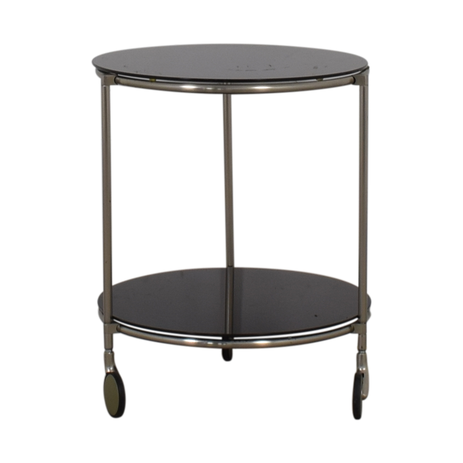 Black Glass and Chrome End Table for sale