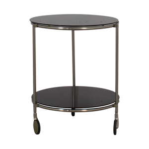 Black Glass and Chrome End Table