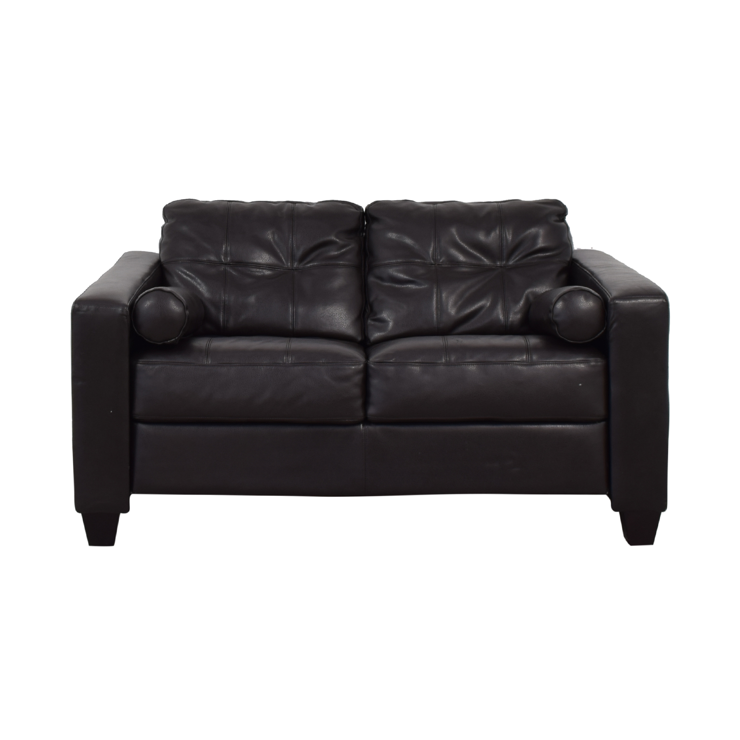 shop Jennifer Furniture Brown Tufted Love Seat Jennifer Furniture