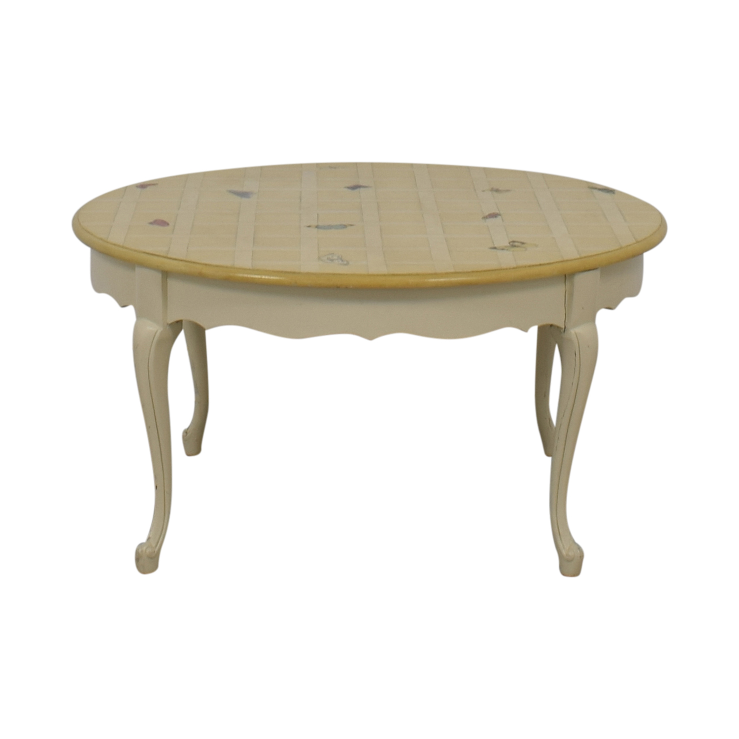 Round Custom Butterfly Painted White Coffee Table second hand