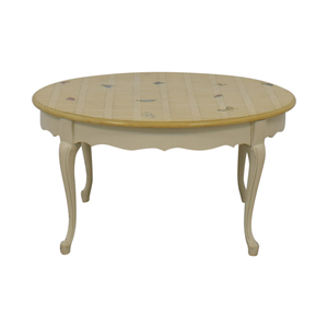 Round Custom Butterfly Painted White Coffee Table on sale